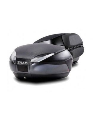 Kovček ( Top case ) SHAD SH48 Temno Siva with backrest, carbon cover and PREMIUN SMART lock
